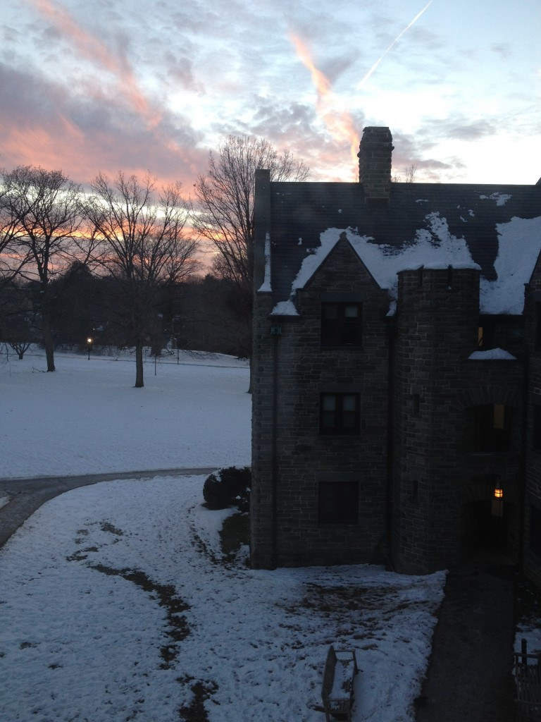 Wintry sunsets from my dorm window